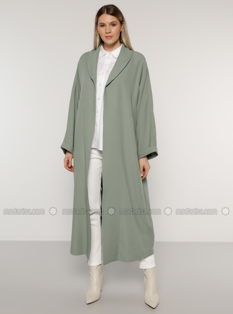 Olive Green - Unlined - Shawl Collar - Plus Size Coat