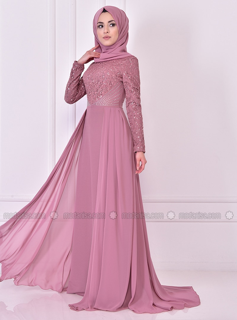 Dusty Rose - Fully Lined - Crew neck - Muslim Evening Dress