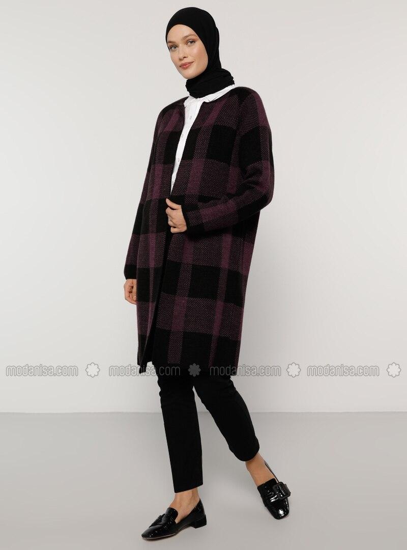 Purple - Black - Checkered - Acrylic -  - Cardigan