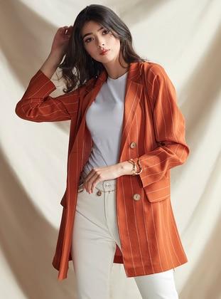 Terra Cotta - Stripe - Unlined - Shawl Collar - Jacket