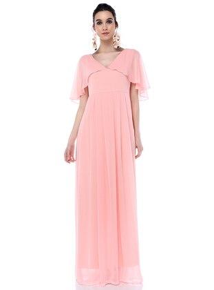 Powder - V neck Collar - Chiffon - Maternity Dress