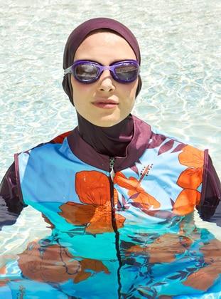 Plum - Multi - Fully Covered Swimsuits - Haşema