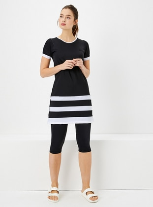 Black - Stripe - Fully Lined - Half Covered Switsuits