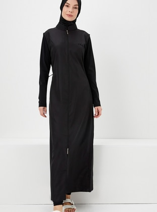 Black - Fully Covered Swimsuits - Haşema