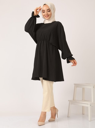 Black - Crew neck - Tunic