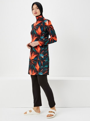 Orange - Multi - Fully Covered Swimsuits - Haşema