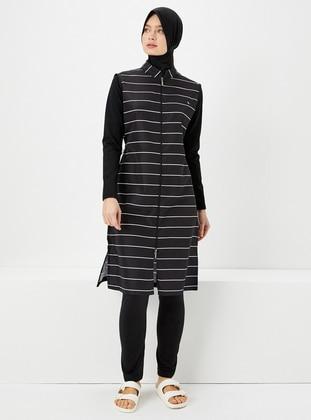 Black - Stripe - Fully Covered Swimsuits - Haşema
