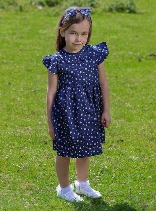 Multi - Round Collar -  - Unlined - Navy Blue - Girls` Dress