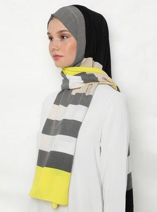 Beige - Black - Printed - %100 Silk - Shawl