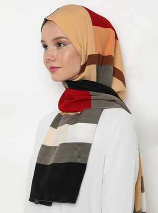 Maroon - Black - Printed - %100 Silk - Shawl
