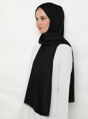 Black - Printed - Jacquard - Fringe - Acrylic - Shawl