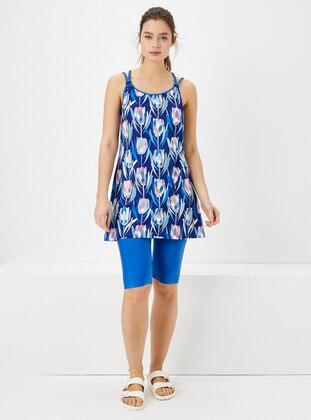 Blue - Multi - Half Covered Switsuits - Haşema