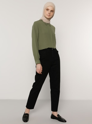 Khaki - Point Collar - Blouses