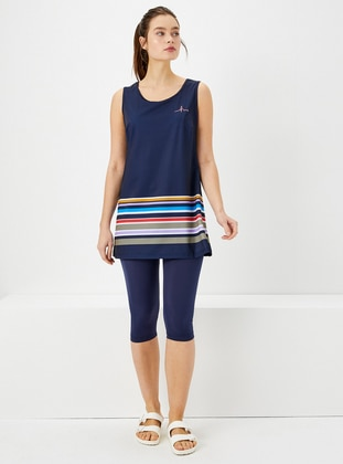 Navy Blue - Stripe - Fully Lined - Half Covered Switsuits