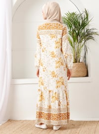 Mustard - Floral - Crew neck - Unlined -  - Dress