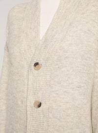 Beige - V neck Collar - Acrylic -  - Cardigan