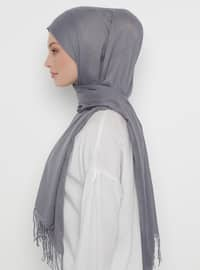 Gray - Printed - Jacquard - Fringe - Acrylic - Shawl