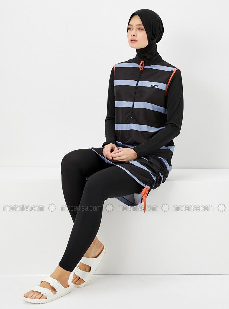Navy Blue - Orange - Stripe - Fully Covered Swimsuits