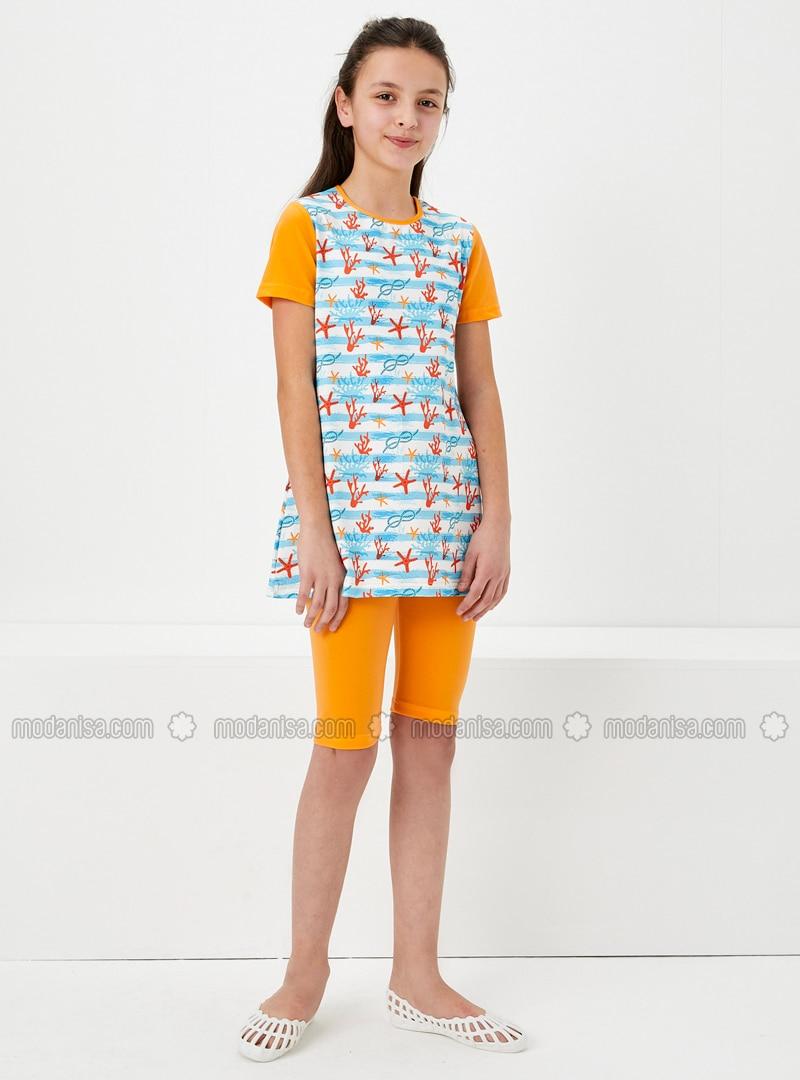 Crew neck - Orange - Girls` Swimsuit