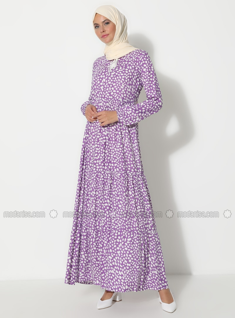 White - Lilac - Multi - Crew neck - Unlined - Dress