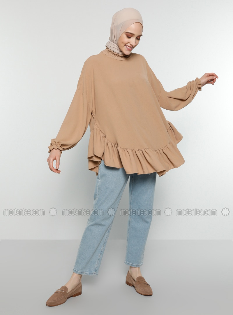 Camel - Polo neck - Blouses
