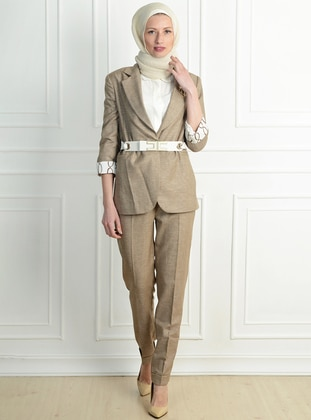 Brown - Acrylic - Viscose - Suit