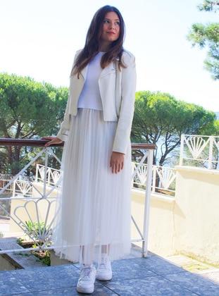 White - Ecru - Fully Lined - - Skirt