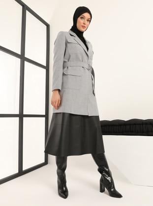 Gray - Shawl Collar - Jacket