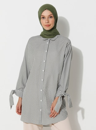 Khaki - Stripe - Point Collar -  - Tunic