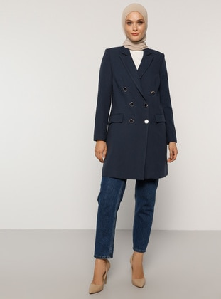 Navy Blue - Fully Lined - Shawl Collar - Jacket - Refka