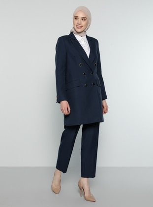Navy Blue - Fully Lined - Shawl Collar - Jacket