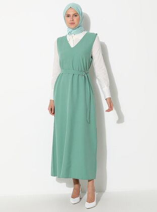 Green Almond - V neck Collar - Unlined - Dress