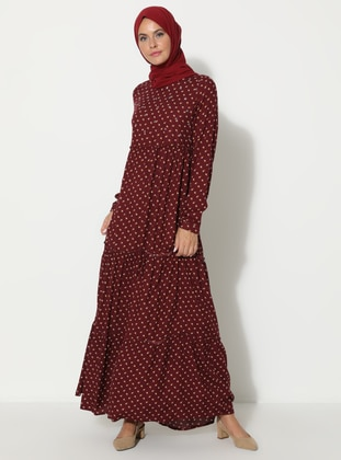 Maroon - Floral - Crew neck - Unlined - Dress