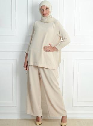Beige - Unlined - Acrylic - Viscose - Suit