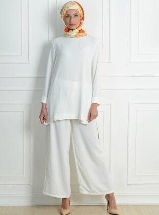 White - Ecru - Zebra - Unlined - Acrylic - Viscose - Suit
