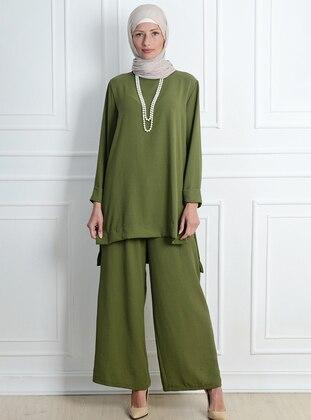Khaki - Unlined - Acrylic - Viscose - Suit