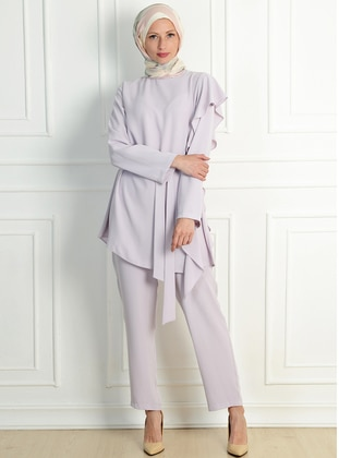 Lilac - Unlined - Acrylic - Viscose - Suit