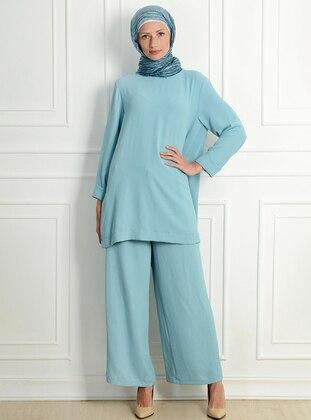 Blue - Unlined - Acrylic - Viscose - Suit