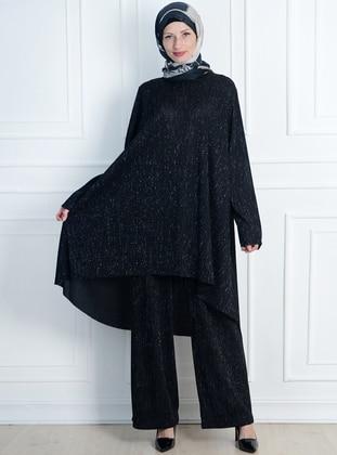 Black - Unlined - Acrylic - Viscose - Suit