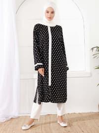 Siyah - Astarsız kumaş - Yuvarlak yakalı - Palto ve Kabanlar