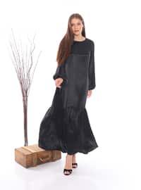 Siyah - Yuvarlak yakalı - Astarsız - Viskon - Elbise