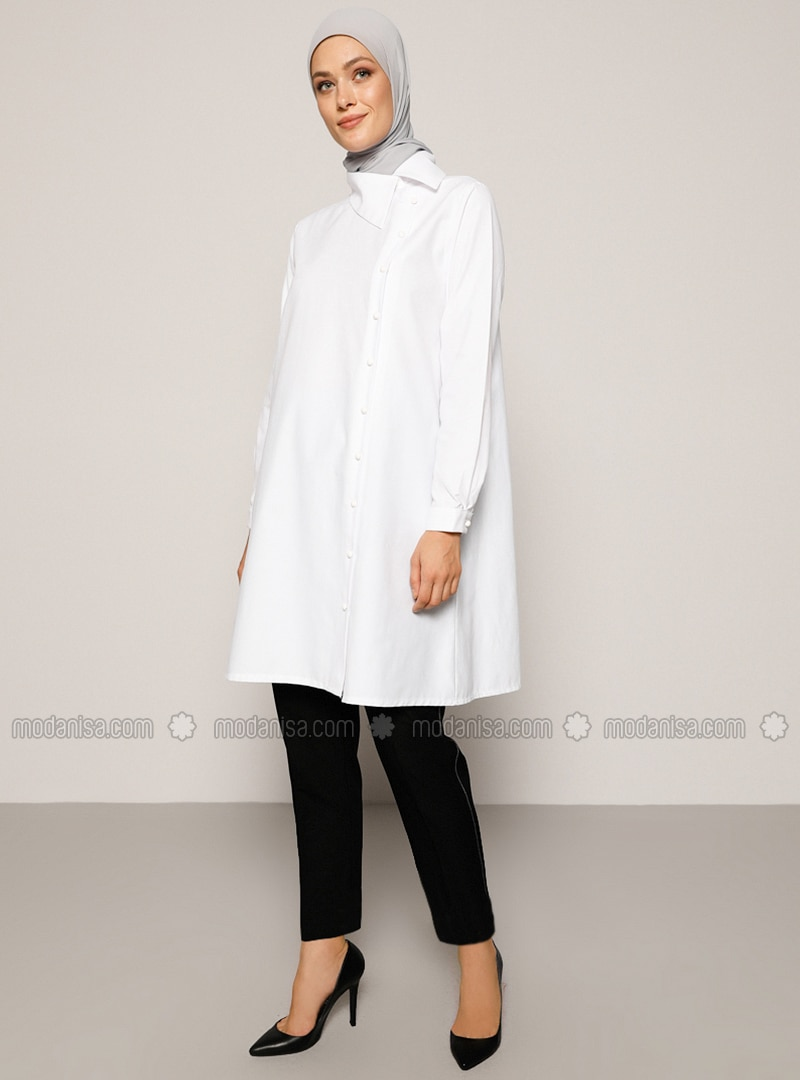 White - Point Collar -  - Tunic