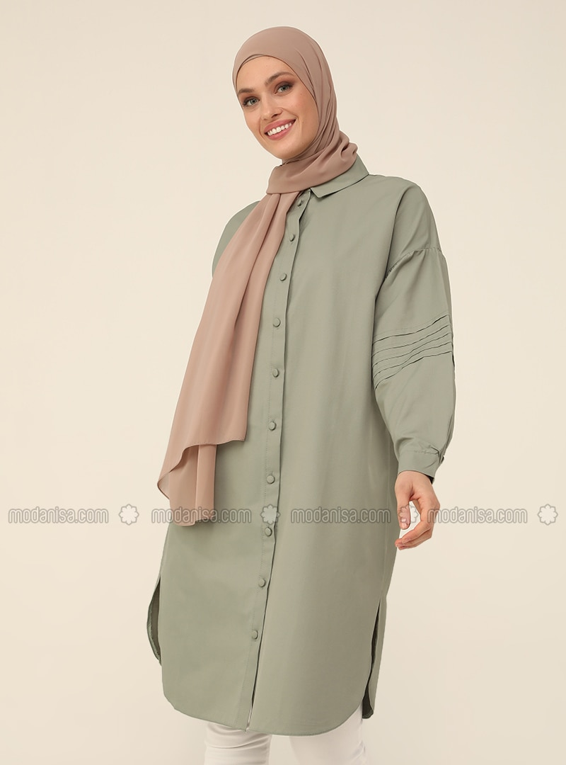 Olive Green - Point Collar - Tunic - Refka