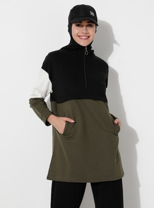Ecru - Khaki - Black -  - Tracksuit Top - Saye Modest