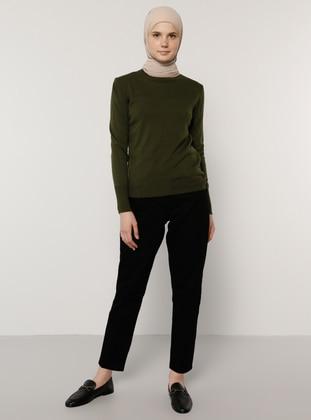Khaki - Crew neck - Acrylic -  - Jumper