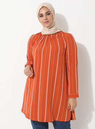Terra Cotta - Stripe - Crew neck -  - Plus Size Tunic