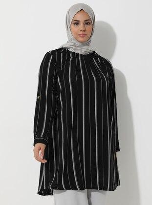 Black - Stripe - Crew neck -  - Plus Size Tunic