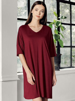 Maroon - - Viscose - Loungewear Dresses