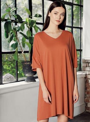 Terra Cotta - - Viscose - Loungewear Dresses