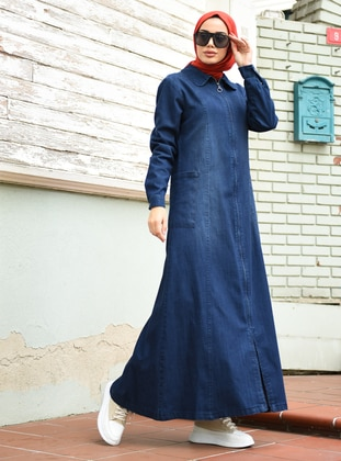 Navy Blue - Round Collar - Denim - - Abaya